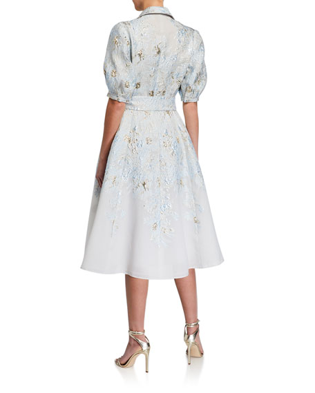 Rickie Freeman for Teri Jon Puff-Sleeve Jacquard Shirt Dress