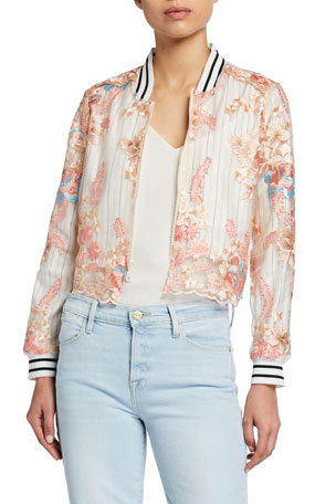 Loyd/Ford Multipattern Floral Lace Bomber Jacket