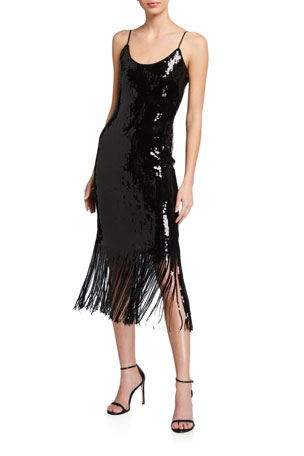 Milly Ayleen Sequin Fringe-Hem Midi Dress
