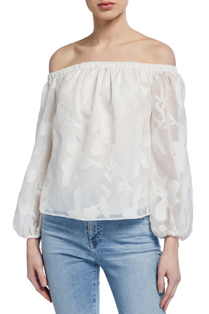 Milly Bella Off-the-Shoulder Floral Devore Burnout Top
