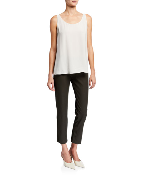 Eileen Fisher Plus Size Slim Stretch Crepe Ankle Pants