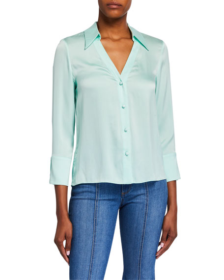 Alice + Olivia Hope Long-Cuff Button-Down Blouse