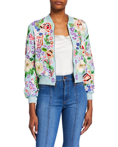 Lonnie Embroidered Cropped Bomber Jacket