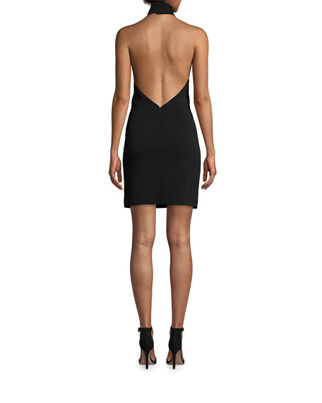 Nicole Miller Structured Heavy Jersey Mini Halter Dress