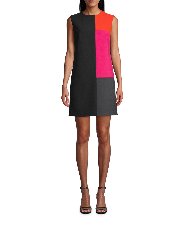 Nicole Miller Colorblock Techno Crepe Shift Dress
