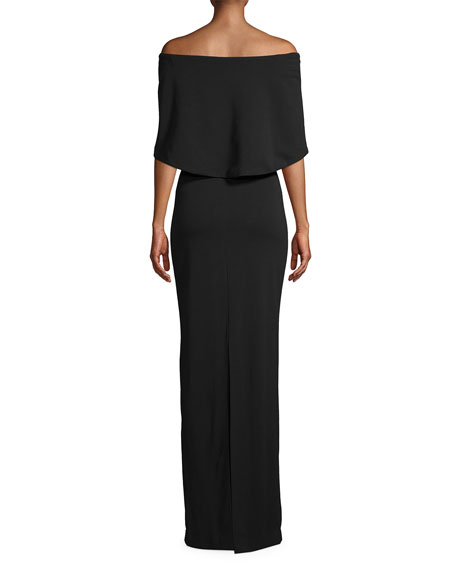 Nicole Miller Off-the-Shoulder Structured Heavy Jersey Cape Gown