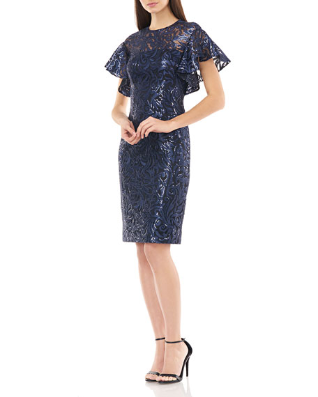 Image 2 of 4: Carmen Marc Valvo Infusion Sequin Jewel-Neck Flutter-Sleeve Sheath Dress