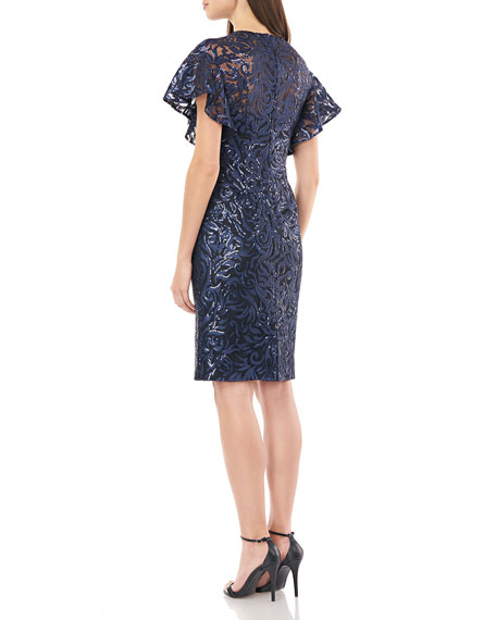 Image 4 of 4: Carmen Marc Valvo Infusion Sequin Jewel-Neck Flutter-Sleeve Sheath Dress