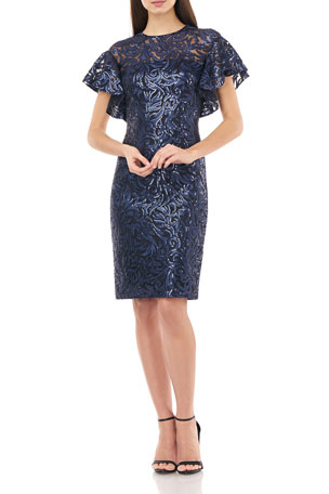 Your Every Day Mall Three Quarters Sleeve Embroidery Black Peplum Dress