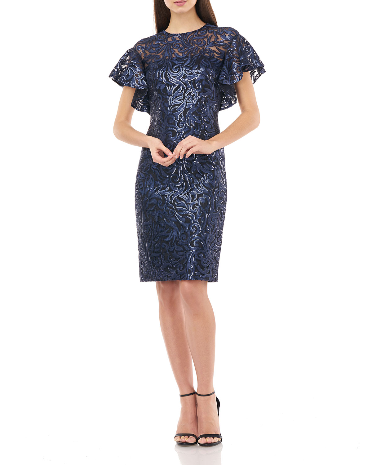 Carmen Marc Valvo Infusion Sequin Jewel-Neck Flutter-Sleeve Sheath Dress