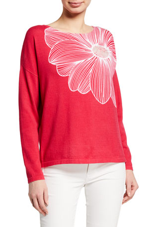 Joan Vass Plus Size Floral Intarsia Cotton Sweater