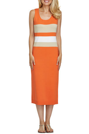 Joan Vass Petite Colorblock Sleeveless Sweater Dress