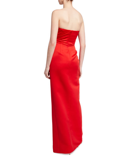 Jay Godfrey Darcy Strapless Wrapped Satin Column Gown