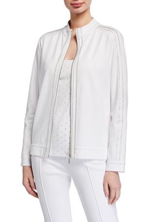Joan Vass Petite Sparkle Zip-Front Jacket