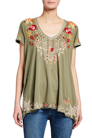 Johnny Was Izora Embroidered Drape Knit Top
