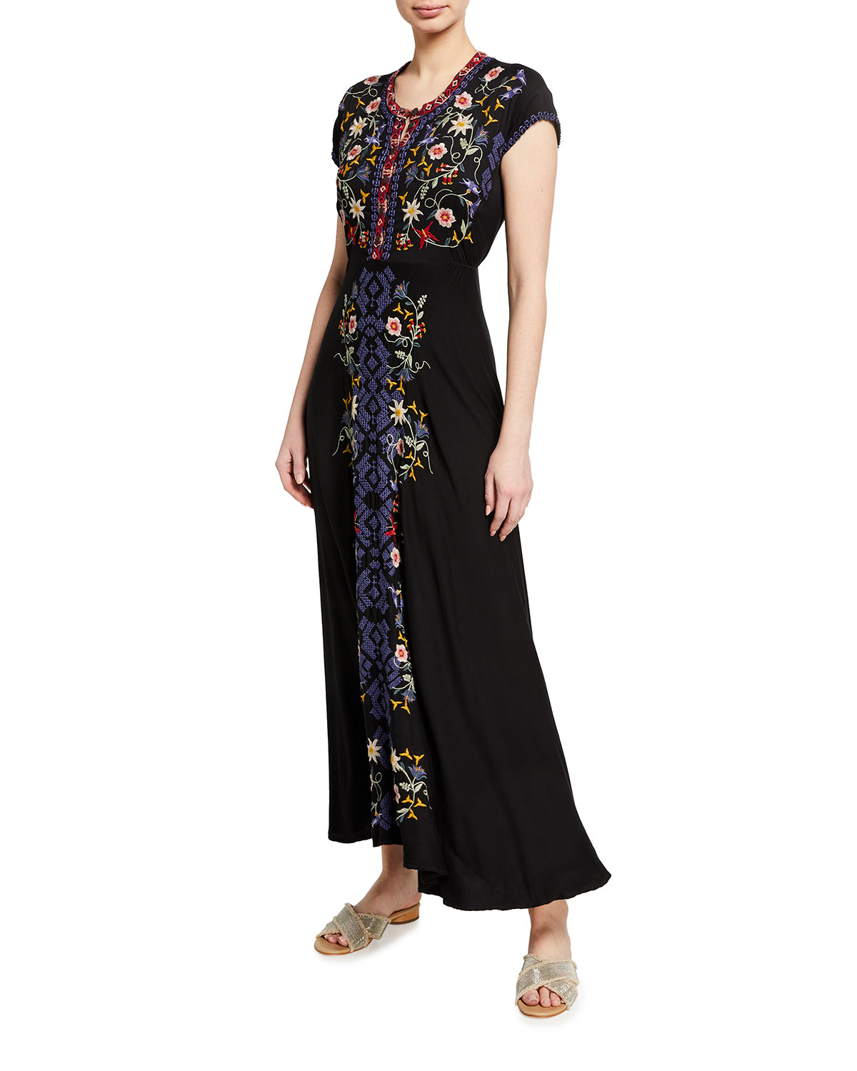 Johnny Was Mariposa Embroidered Stretch Challis Long Dress