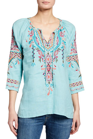 Johnny Was Kris Embroidered Linen Peasant Blouse