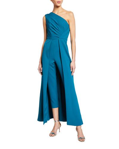 One-Shoulder Sleeveless Crepe Jumpsuit w/ Skirt Overlay
