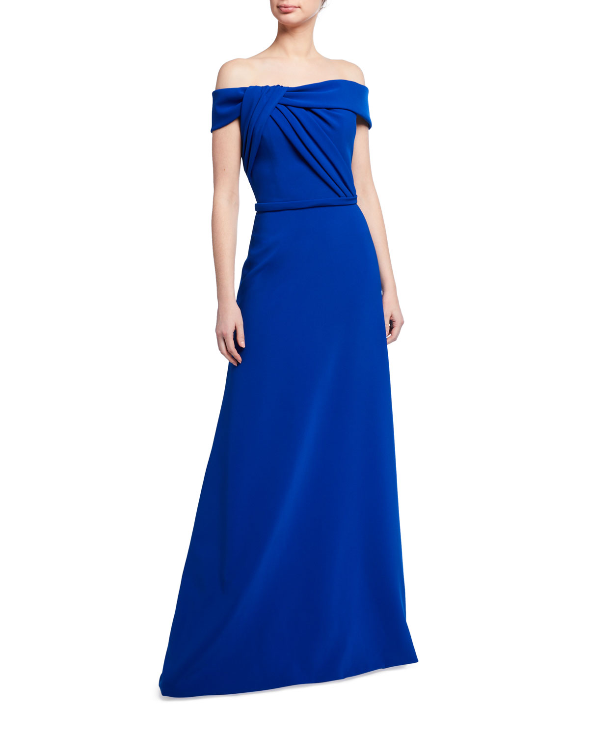 Theia Twist-Front Off-the-Shoulder Crepe Gown