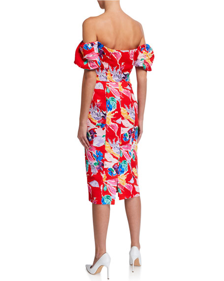 Image 2 of 2: Milly Cara Bouquet Floral Off-the-Shoulder Faille Dress