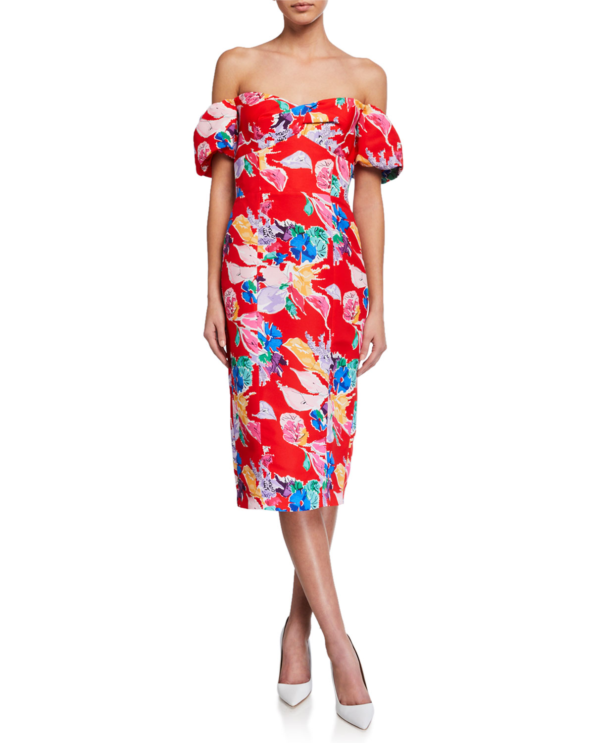 Milly Cara Bouquet Floral Off-the-Shoulder Faille Dress