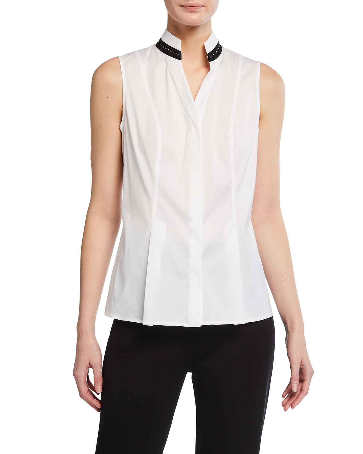 Misook Studded Collar Button Down Tank