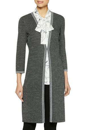 Misook Plus Size Striped Duster Cardigan