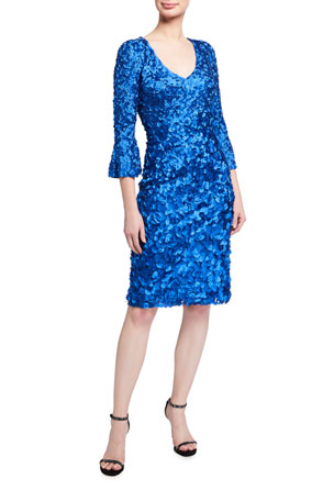 Theia Hand Embroidered Bell-Sleeve Dress w/ Laser-Cut Petals