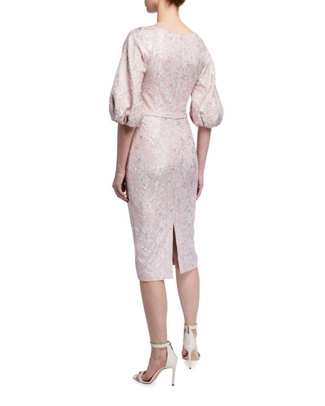 Image 2 of 2: Theia V-Neck Raglan Balloon-Sleeve Cloque Dress