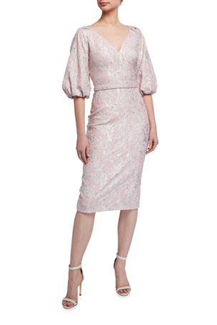 Theia V-Neck Raglan Balloon-Sleeve Cloque Dress