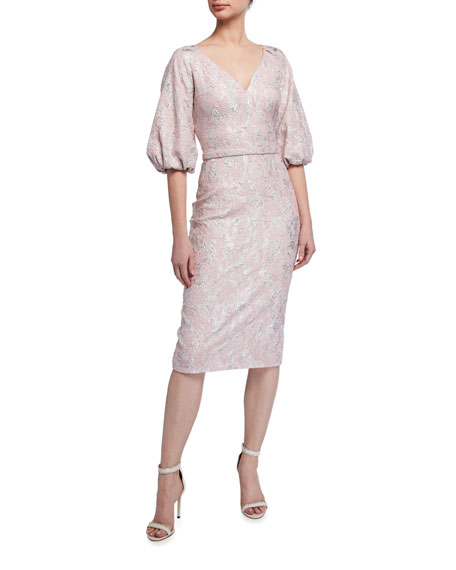 Image 1 of 2: Theia V-Neck Raglan Balloon-Sleeve Cloque Dress