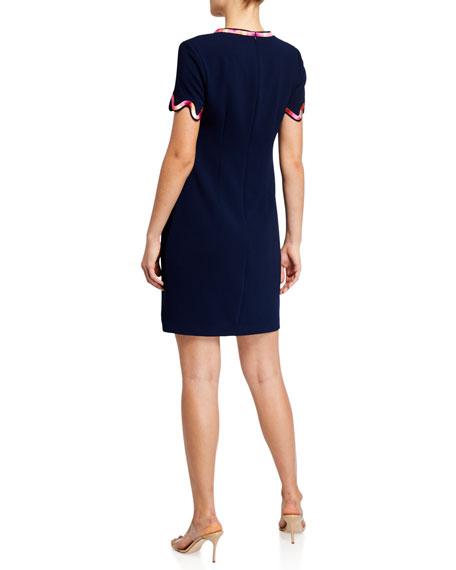 Trina Turk Flourish Scallop-Edge Dress