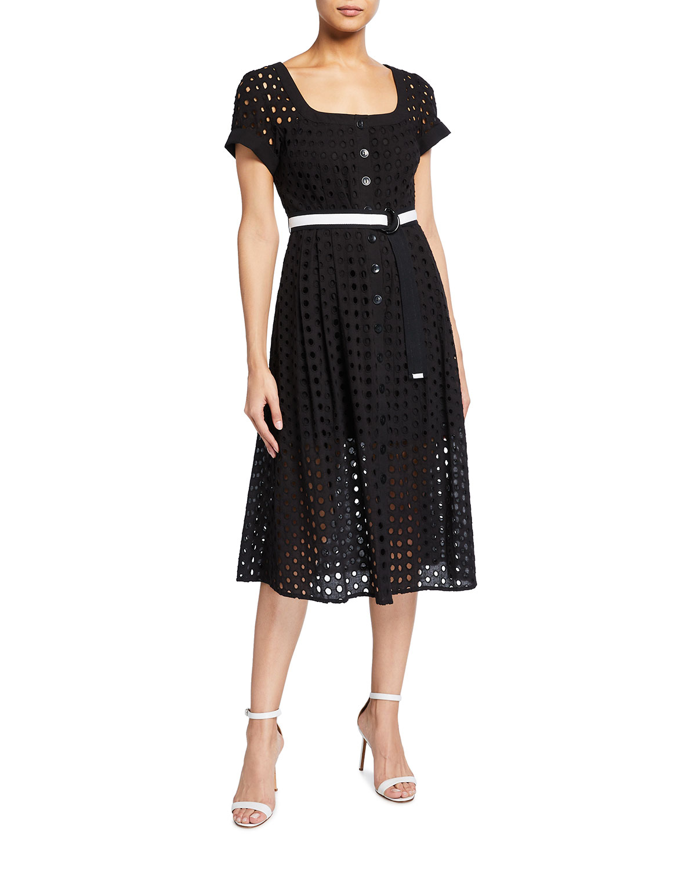Nanette Lepore Inner Circle Belted Eyelet Midi Dress