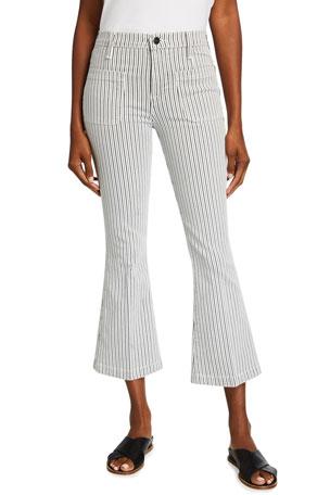 FRAME Le Bardot Pinstriped Cropped Flare Pants