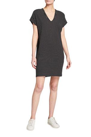 FRAME Le V Striped Mini Dress