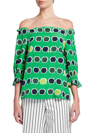Trina Turk Equinox Sunglasses Print Off-the-Shoulder Top