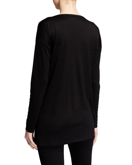 Image 2 of 2: Eileen Fisher Petite Lyocell Side Slit Long-Sleeve High-Low Tunic