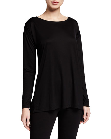 Image 1 of 2: Eileen Fisher Petite Lyocell Side Slit Long-Sleeve High-Low Tunic
