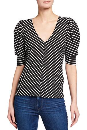 FRAME Striped V-Neck Shirred Short-Sleeve Top