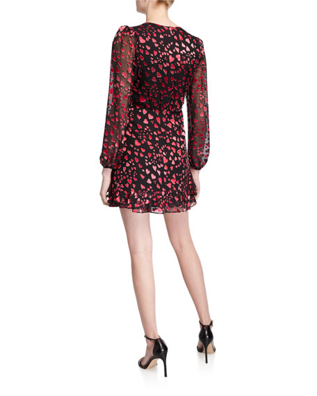 Saloni Alya Heart-Print V-Neck Cocktail Dress