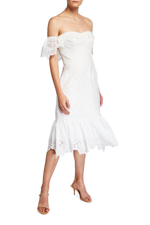 Marchesa Notte Off-the-Shoulder Chandelier Eyelet Ruffle Dress