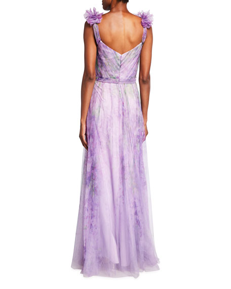Image 2 of 2: Marchesa Notte Watercolor Printed Tulle Gown with Draped Bodice