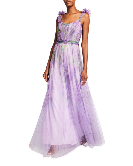 Image 1 of 2: Marchesa Notte Watercolor Printed Tulle Gown with Draped Bodice