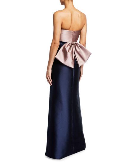 Sachin & Babi Noir Dahlia Colorblock Strapless Mikado Gown