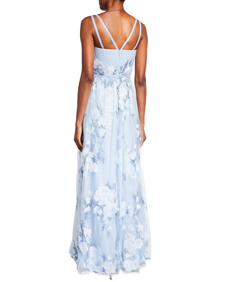 Image 2 of 2: Marchesa Notte Sleeveless Embroidered Gown w/ Draped Corset Bodice