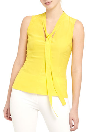 Theory Seamed Tie-Neck Silk Top