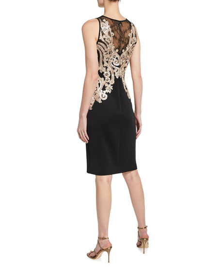 Image 2 of 2: Tadashi Shoji Sequin Embellished Lace-Inset Sleeveless Neoprene Dress