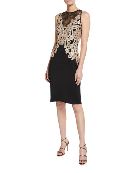 Image 1 of 2: Tadashi Shoji Sequin Embellished Lace-Inset Sleeveless Neoprene Dress