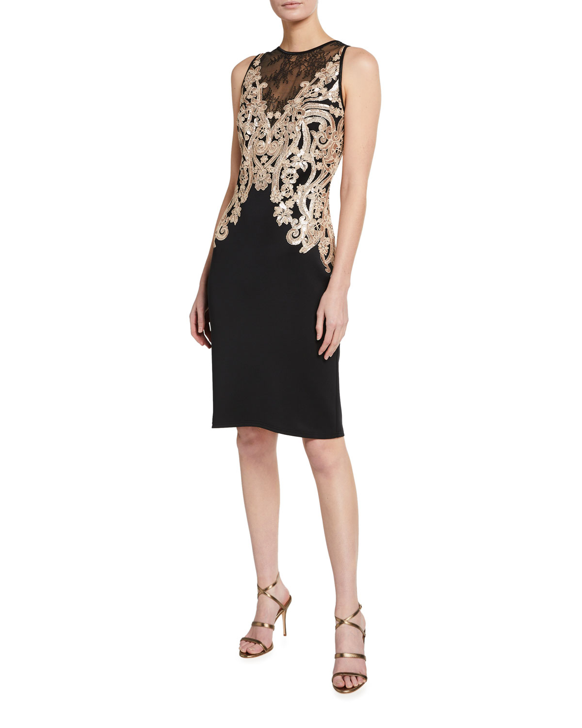Tadashi Shoji Sequin Embellished Lace-Inset Sleeveless Neoprene Dress