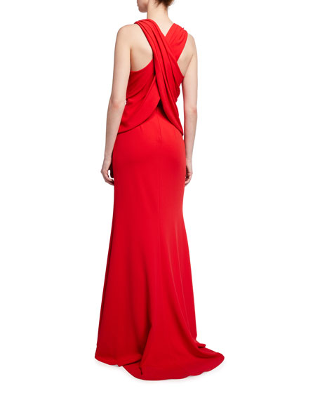 Image 2 of 2: Tadashi Shoji Sleeveless Crepe Gown with Crossover Back
